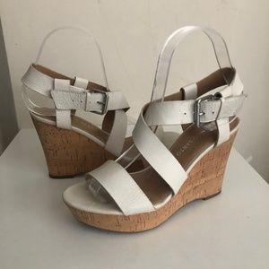Franco Sarto White Open Toe Wedge Size 6 Strappy